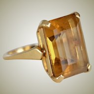 Citrine Ring F & F Felger 14K Yellow Gold Large Emerald Cut