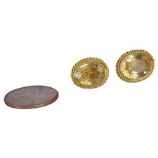 Pair Citrine and 14k Gold Earrings Screw Back