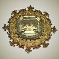 Antique 14kt Gold Pin Brooch Huge Citrine