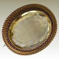 Massive Lemon Citrine 14k Gold Antique Pin Brooch