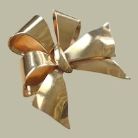 Vintage Ribbon Bow Pin Brooch 14k Gold 8 Grams