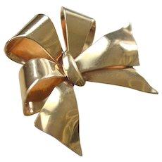 Vintage Ribbon Bow Pin Brooch 14k Gold 8 Grams