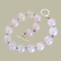 Moonstone Bracelet Large Beads Hand Knotted SS Clasp