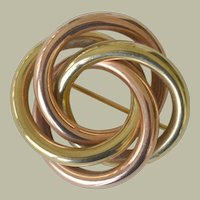Knot Brooch Pin 14k Rose and Yellow Gold 15.2 Grams