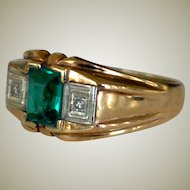 Gent's Ring Diamonds and Faux Emerald 10K Yellow Gold