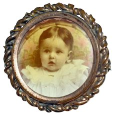 Antique Pin with Baby Photograph