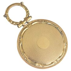 Antique Locket Engine Turned and Glass 10k Gold