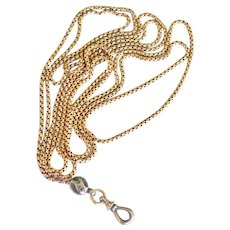"""Finely Crafted 14k Gold 54"""" Muff Watch Guard Chain"""