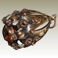 Antique Citrine 14k Gold Egg Charm Pendant