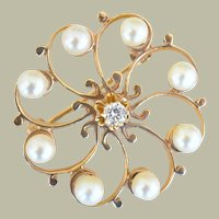 Circle Pin 14k Yellow Gold Pearls and Diamond