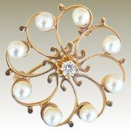 Circle Pin 14k Yellow Gold Pearls and Diamond