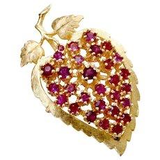 14k Gold Syn, Ruby Pendant Pin Leaf Form