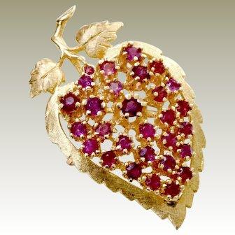 Ruby 14k Gold Pin Pendant Brooch 13 Grams