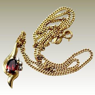 Necklace Garnet and Diamond Pendant 14k Gold Chain