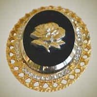 Big Pin Pendant with Rose and Rhinestones