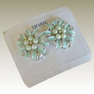 Charel Earrings NOS Seafoam Enamel Faux Pearls and Rhinestones