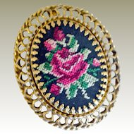 Large Brooch Pendant Petit Point Roses on Black
