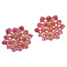 Crystal Earrings Bright Pink Prong Set Stones