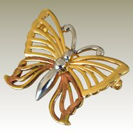Anne Klein Butterfly Three Tone Pin Brooch