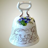 Crown Bone China Proverb Bell When in Rome Violets