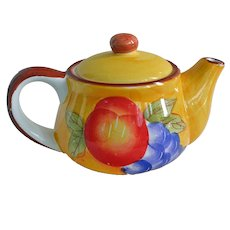 Tea Pot Hand Painted Fruit Brightest of Colors Teapot