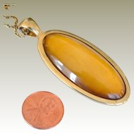 Necklace  with Amber Color Lucite Pendant RMN