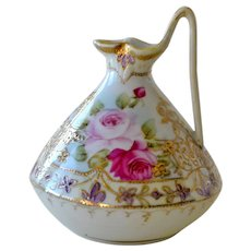 Nippon Pitcher Ewer Hand Painted Leaf Mark Roses