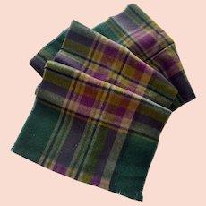 Cashmere Wool Scarf Plaid Green Burgundy England