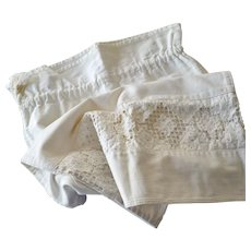 73bff77f66a Vintage Heavy Cotton Lingerie Laundry or Gym Bag with Cut Work Insert