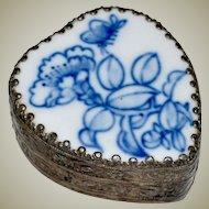 Heart Shaped Trinket Box Blue White Porcelain Lid Hand Painted