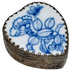 Heart Shaped Trinket Box Blue White Porcelain Lid Hand Painted