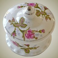 Porcelain Trinket Box Roses Silver Gilt Trim