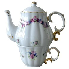 Porcelain Stacked Tea Pot and Cup Teapot Roses Violets