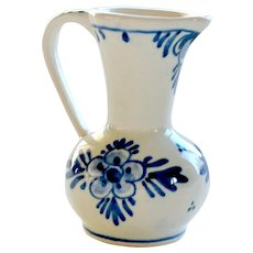 Vintage Miniature Delft Holland Creamer Pitcher Hand Painted