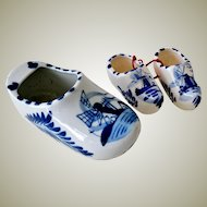Porcelain Dutch Clogs One Large and Pair Small Hand Painted