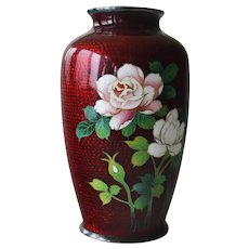 Japanese Cloisonne Enamel Vase Flowers Bamboo Background