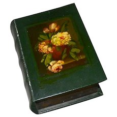 Unusual Old Book Form Box  Hand Painted Papier Mache