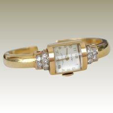Wyler Bracelet Watch 14K Yellow Gold and Diamonds