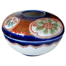 Imari Style Porcelain Hair Receiver Japan Mark