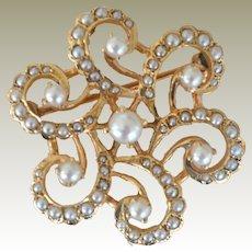 Pendant Pin Cultured Pearl 14k Gold