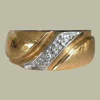 Wide Band Ring 14K Yellow Gold with Diamonds 6 gr
