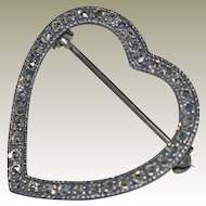 Sterling Marcasite Heart Pin