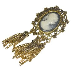 Faux Cameo Pin Brooch Long Tassels