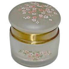 Lidded Dresser Jar Box Enamel Flowers Opaque Frosted Glass