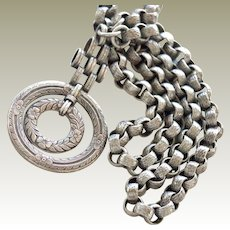 Old Silver Necklace Pendant Large Detailed Links