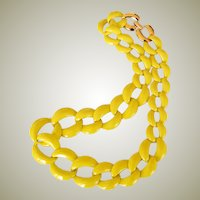 Vintage Napier Necklace Bright Yellow Big Links