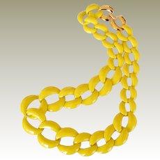 Vintage Napier Necklace Bright Yellow Big Links