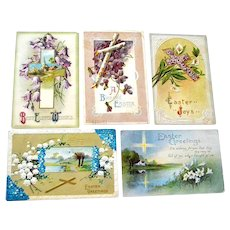 Five Easter Postcards with Crosses Post Cards