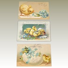 Postcards Three Embossed Easter Chicks Tuck and Germany Post Cards