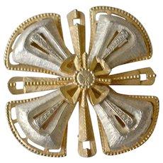 Large Hefty Pin Brooch Two Tone Maltese Cross